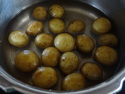 cooking baby potato for baby potato snacks or baby potato fry