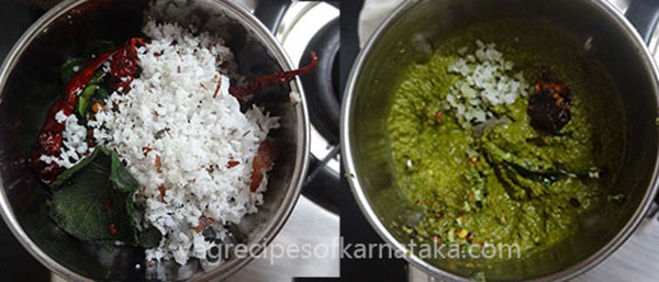 grind leaves and dals for doddapatre or sambarballi chutney
