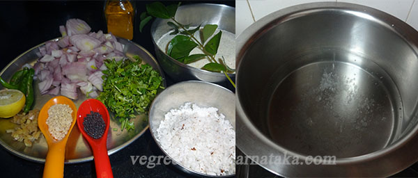 ingredients and water for rave uppittu or rava upma