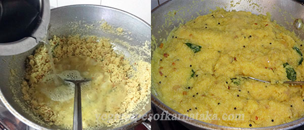 adding water to the rava to make rave uppittu or rava upma
