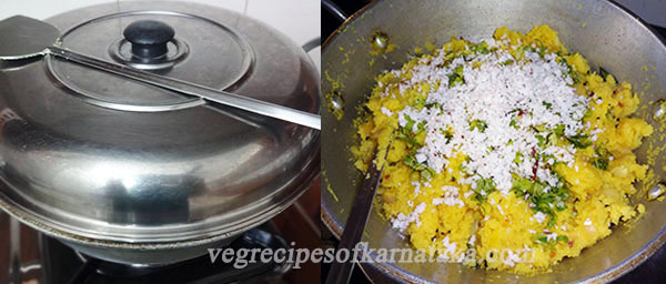adding coconut and coriander leaves for rave uppittu or rava upma